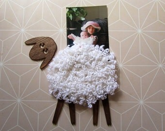 Funny Wall Decal Sheep  - Holder for various purpose (photos and notes)