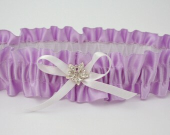 Lilac and white wedding garter, Lilac prom garter, Satin lilac lingerie, Rhinestones garter, Lilac bridal lingerie, Toss or keepsake garter