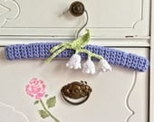 Sweet Baby Nursery Hanger, Lily of the Valley Covered Baby Hanger, Wooden Hanger,  Infant to Size 4 Hanger