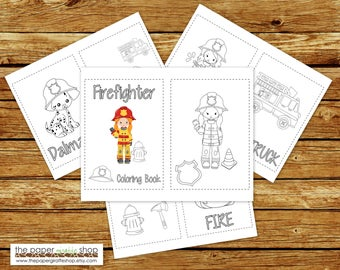 Firefighter Coloring Book Printable   Girl Firefighter Birthday Party Coloring Book   Coloring Book Party Favor   Instant Download PDF