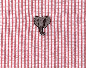 High Quality Embroidered Seersucker Fabric–  Elephant on Red