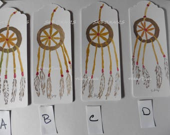 Bookmarks- Native American Dreamcatcher, watercolor, miniature paintings, Native American art, original hand painted, Fine Art Watercolor