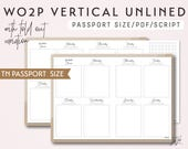 Passport Size TN Week on 2 Pages Vertical with Fold Out Variation WO2P - Printable Traveler's Notebook Insert - Script Theme