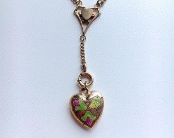 Antique Edwardian gold filled lariat watch guard chain with gold enamal puffy heart charm pendant fob