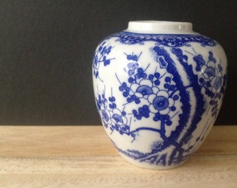 Chinoiserie blue & white cherry blossom vase Japanese
