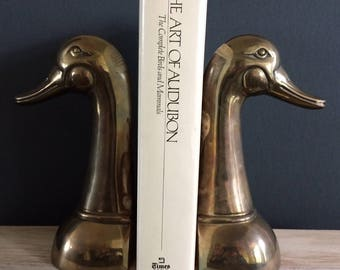 large solid brass duck bookends