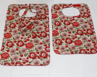 Floral Adult Bib/Clothing Protector - 2 Styles to Choose From - Reversible - Terry Cloth/Pewmium Cotton - Women or Teen Adult Bib -  Red