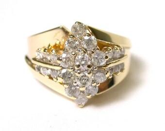 Vintage Diamond Ring - 14k Yellow Gold Diamond Ring - Size 6 - Cocktail Ring - Approx. 1 Carat Diamond Total - Weight 6.3 Grams # 1371