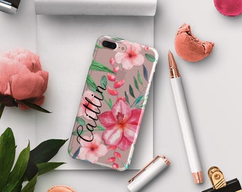 Clear iPhone case with your name, Pretty tropical floral print in soft pinks and green, Watercolor pattern, Unique gifts For Her (1763)