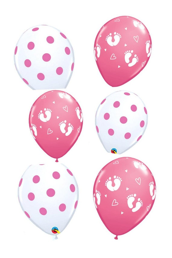 Baby girl shower decorations pink balloon set polka dot for Balloon decoration for baby girl