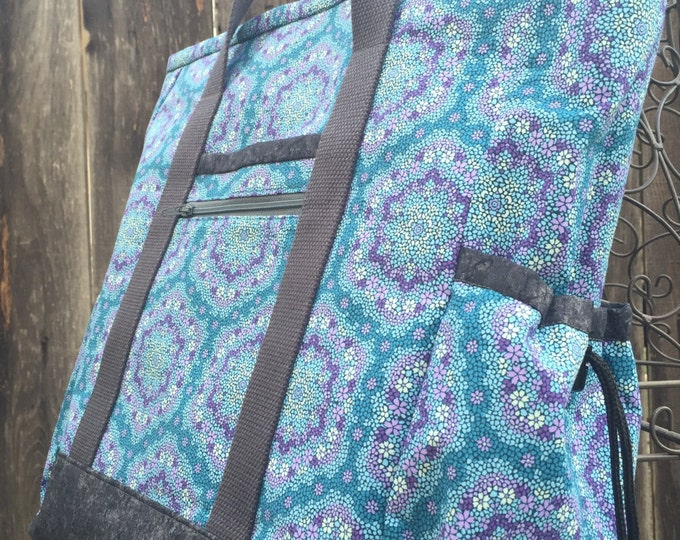 Tote Bag with Pockets, Teacher Tote, Nurse Bag, Tote Bag with Zipper, Diaper Bag, Work Tote, Professional Tote, Purple and Grey Kitchen Sink