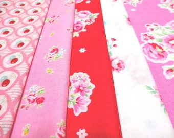 SALE Japanese Fabric Flower Strawberry FQ 5Pices L5