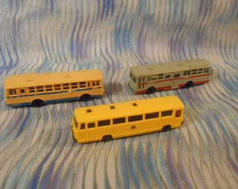 Three Miniature Plastic Buses-Tomix-Wiking-