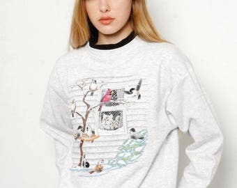 FLASH SALE Vintage 1990s Christmas Holiday Cat Bird Snow Tacky Ugly Sweater