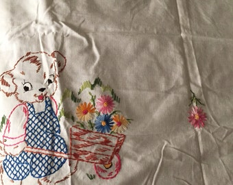 Vintage Hand-Embroidered child's Bed Topper