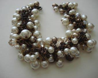 Swavorski Cream & Bronze Pearl Cluster Wire Wrapped Vintaj Natural Brass Bracelet