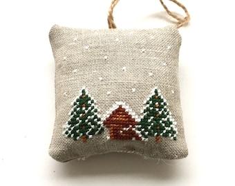 Winter snow scene square padded cross stitch christmas tree decoration Ski chalet modern embroidery Handmade christmas decor