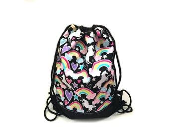 Draw string bag gym bag rainbows and unicorns kawaii glitter