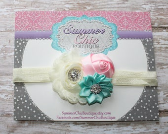 Baby Headband, Ivory, Light Pink, and Aqua Headband,  Infant Headband, Newborn Headband, Easter Headband