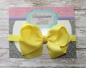 Baby Headband Bow, Infant Headband, Newborn Headband - Yellow Bow Headband, Headband, Boutique Bow on Fold over elastic