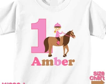 Personalized Horseback Rider Pony Horse Riding Birthday Party Shirt Girls 1st First 2nd 3rd 4th 5th 6th Birthday Party Horses Ponies Rider