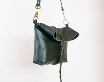 Braid Wrap Bag/Clutch in Forest Green