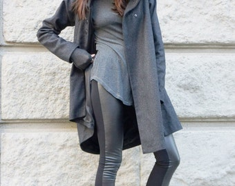 NEW Asymmetric Extravagant Grey  Hoodded Coat / Casha Lined Coat / Button Hooded Jacket HandMade by Aakasha A07570