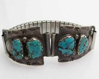 Native American Turquoise Sterling Watch Tips Vintage Jewelry H830