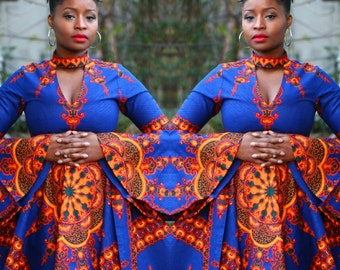 HENNA - African Ankara Print Blue Dashiki Flutter Sleeve Choker Dress  SM - XL - Ready to Ship
