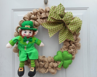 Leprechaun wreath Leprechaun burlap wreath Leprechuan decorIrish wreath Irish decor Leprechaun decor St Pattys burlap wreath Ready to ship