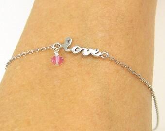 Love Anklet, Birthstone Ankle Bracelet, Sterling Silver Ankle Bracelet, Personalized Anklet, Silver Chain Ankle Bracelet Adjustable |BB1-4