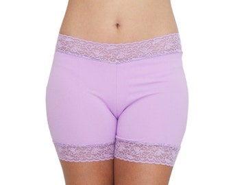 30% OFF Lavender Biker Shorts Lace Trim Spandex Underwear