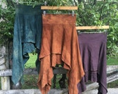 Ready to Ship Gypsy Traveler Indian Block Print Skirt Made with Organic Hemp and Cotton Dyed with Herbs