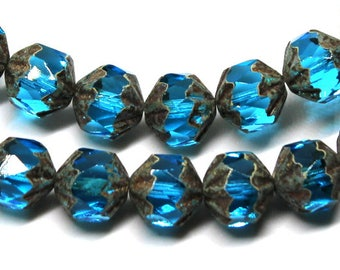 6 Lovely Authentic Czech Faceted Azurite Blue Twist Picasso Beads
