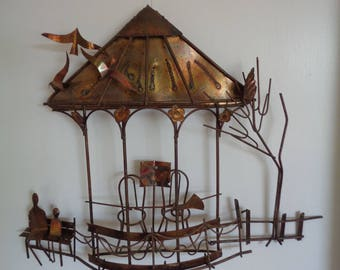 Vintage Metal Wall Sculpture/Bandstand/ Wall Hanging,Mid century,Flame cut,Jere style