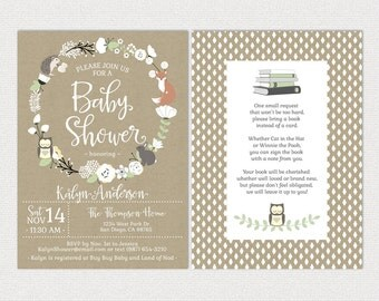 Woodland Baby Shower Invitations • Bohemian • White Floral Wreath • Gender Neutral • book instead of a card • printable Invites