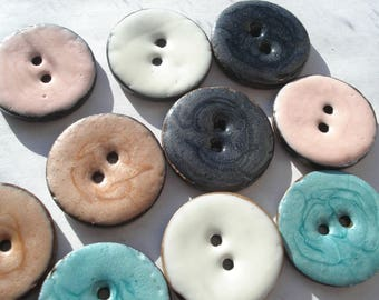 25mm Handmade Natural Coconut Shell Sewing Buttons, 2-Hole Round Mixed Colour Enamel Buttons, Pack 0f 6 Buttons A136
