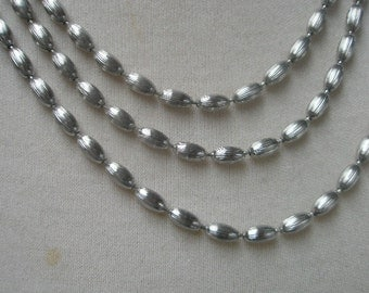 napier vintage necklace silver metal 60 inches 1960s