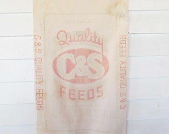 Muslin Seed/Feed Sack - Cotton Muslin - 'C&S Feeds' - Vertical and Horizontal Text - Faded Red Graphics and Lettering - Farmhouse Chic