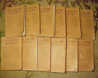 Full Year 1908 The Atlantic Monthly Magazines January - December published By Houghton, Mifflin New York, Antique Magazines with lots of Ads