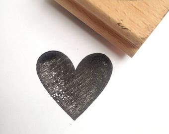 Destash Wooden Rubber Stamp Love Heart filled