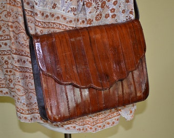 Vtg 60's 70's Italian Exotic Eel skin Boho mid-size cognac Genuine Leather clutch Purse shoulder bag