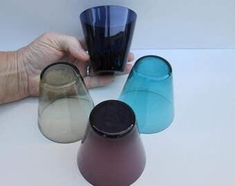Set of 4 Tumblers - 60's Retro Vintage Mad Men Drinking Glasses Juice Wine Multi Colored