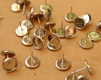 12 pc. Stainless Steel 8mm Ear Post Blank Cabochon Setting | FI-332