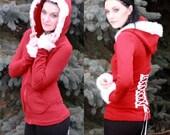 Santa Corset back hoodie with fur trim on reserve for Rachel