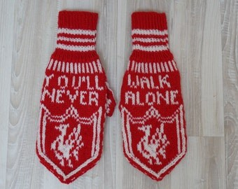 You'll never walk alone Hand knit glove mittens white red L size man handmade turkey motif you will Valentines day gift for him large medium