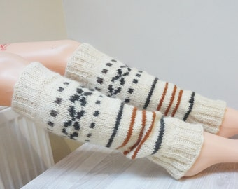 Boot cuffs hand knitted Leg warmers Scandinavian topper white cream black handmade patterned gaiters ready to ship Wool small medium