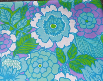 Vintage Retro Turquoise Purple Flower Fabric by the Yard, 60s 70s Daisy Floral Curtain Dress Material, Mod Sewing Fabric BTY