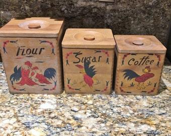 Vintage Wooden Rooster Canisters, Kitchen Storage, [J]
