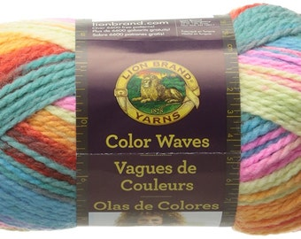Lion Brand Color Waves Self Striping Yarn in Ocean Drive Wool Blend